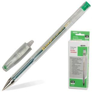 Ручка гелевая BEIFA (Бэйфа), корпус прозрачный, металлический наконечник, толщина письма 0,5 мм, зеленая, PX888-GR