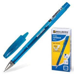 """Ручка гелевая BRAUBERG """"Income"""" (БРАУБЕРГ """"Инком""""), корпус тонированный синий, игольчатый пишущий узел 0,5 мм, синяя, 141516"""