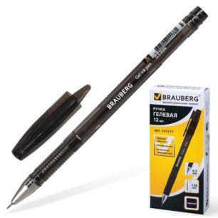 """Ручка гелевая BRAUBERG """"Income"""" (БРАУБЕРГ """"Инком""""), корпус тонированный черный, игольчатый пишущий узел 0,5 мм, черная, 141517"""