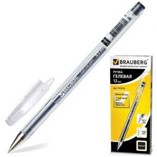 """Ручка гелевая BRAUBERG (БРАУБЕРГ) """"Jet"""", корпус прозрачный, толщина письма 0,5 мм, черная, 141018"""