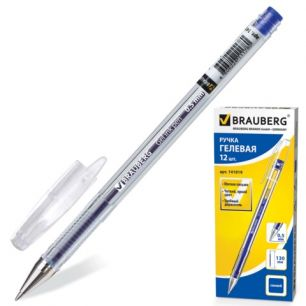 """Ручка гелевая BRAUBERG (БРАУБЕРГ) """"Jet"""", корпус прозрачный, толщина письма 0,5 мм, синяя, 141019"""