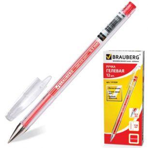 """Ручка гелевая BRAUBERG (БРАУБЕРГ) """"Jet"""", корпус прозрачный, толщина письма 0,5 мм, красная, 141020"""