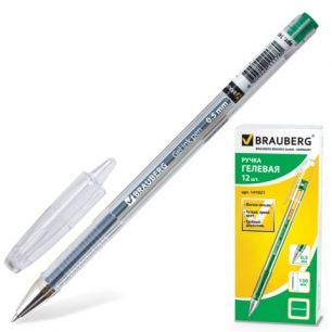 "Ручка гелевая BRAUBERG (БРАУБЕРГ) ""Jet"", корпус прозрачный, толщина письма 0,5 мм, зеленая, 141021"