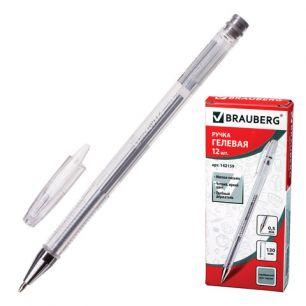 """Ручка гелевая BRAUBERG """"Jet"""" (БРАУБЕРГ """"Джет""""), корпус прозрачный, толщина письма 0,5 мм, серебристая, 142159"""