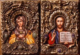 """Венчальная пара икон """"Умиление БМ и Спаситель"""" 14 х 19 см, роспись по дереву, самоцветы"""