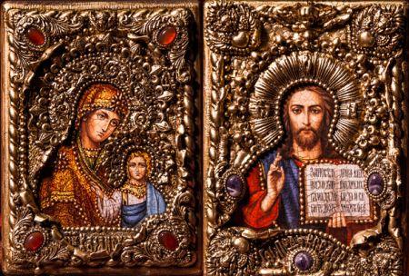 """Венчальная пара икон """"Казанская БМ и Спаситель"""" 14 х 19 см, роспись по дереву, самоцветы"""
