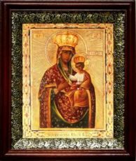 Ильинско-Черниговская икона БМ (19х22), темный киот