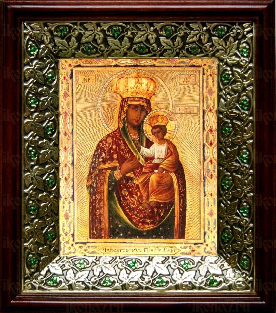 Ильинско-Черниговская икона БМ (21х24), киот со стразами