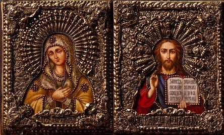 """Венчальная пара икон """"Умиление БМ и Спаситель"""" 18 х 23 см, роспись по дереву"""