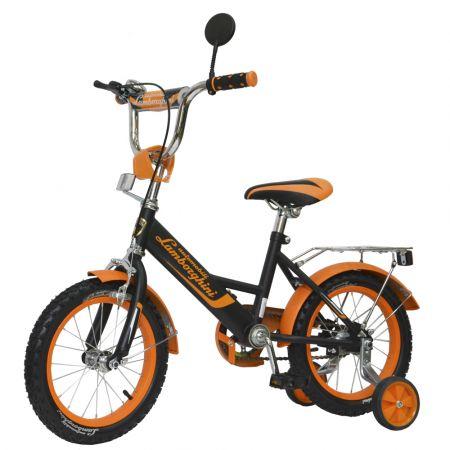 """Велосипед """"Lamborghini""""страх. колёса (диаметр 10,5 см), ,передние ручные тормоза, диаметр колес 14""""с"""
