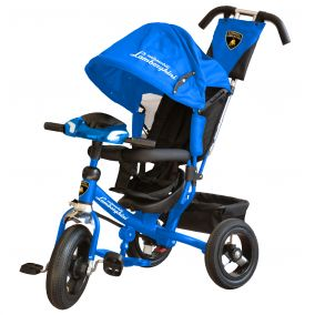 Велосипед 3-хколес. Lamborghini с фарой со свет. и звук. сигналами, ключами зажигания(цвет : синий)