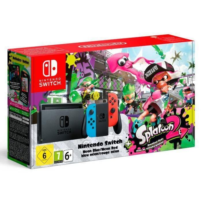 Игровая приставка Nintendo Switch Neon Red/Neon Blue + игра Splatoon 2