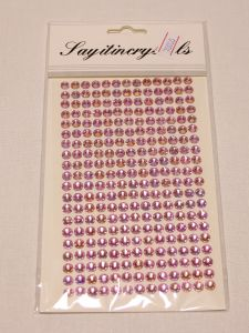 `Стразы на листе, самоклеящиеся, диаметр 6 мм, цвет розовый хамелеон