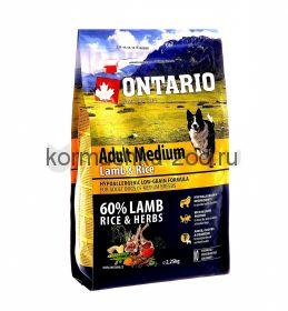 Ontario для собак с ягненком и рисом