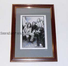 Автографы: Led Zeppelin. Плант, Пейдж, Д.П. Джонс, Бонэм. 1969 год. Редкость.