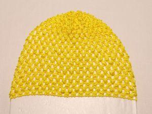 Шапка ажурная, 14*15 см, цвет №04 желтый (1 уп = 6 шт)