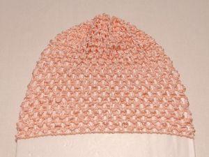 Шапка ажурная, 14*15 см, цвет №06 персиковый (1 уп = 6 шт)