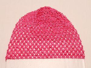 `Шапка ажурная, 14*15 см, цвет №09 ярко-розовый