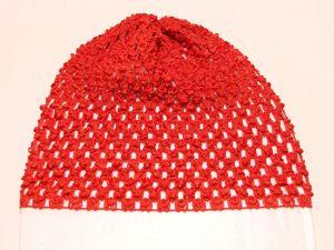 `Шапка ажурная, 14*15 см, цвет №14 красный