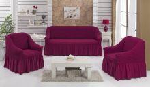 Набор чехлов для дивана BULSAN + 2 кресла (фуксия) Арт.1717-7