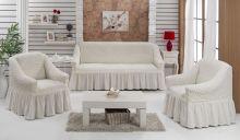 Набор чехлов для дивана BULSAN + 2 кресла (кремовый) Арт.1717-12