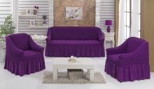 Набор чехлов для дивана BULSAN + 2 кресла (фиолетовый) Арт.1717-13