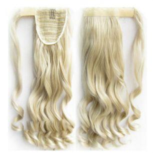Искусственные термостойкие волосы - хвост волнистые №М024/613 (55 см) -  90 гр.