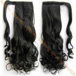 Искусственные термостойкие волосы - хвост волнистые №001B (55 см) -  90 гр.