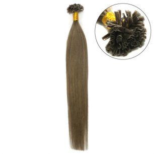 Натуральные волосы на кератиновой капсуле U-тип, №008 - 45 см, 100 капсул.
