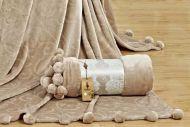 Плед с помпонами(подарочная упаковка)№FT107