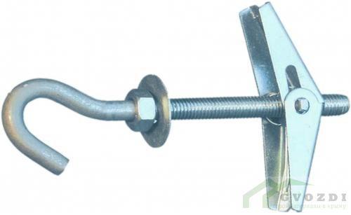 Дюбель складной пружинный с крюком М6 (1 шт.)