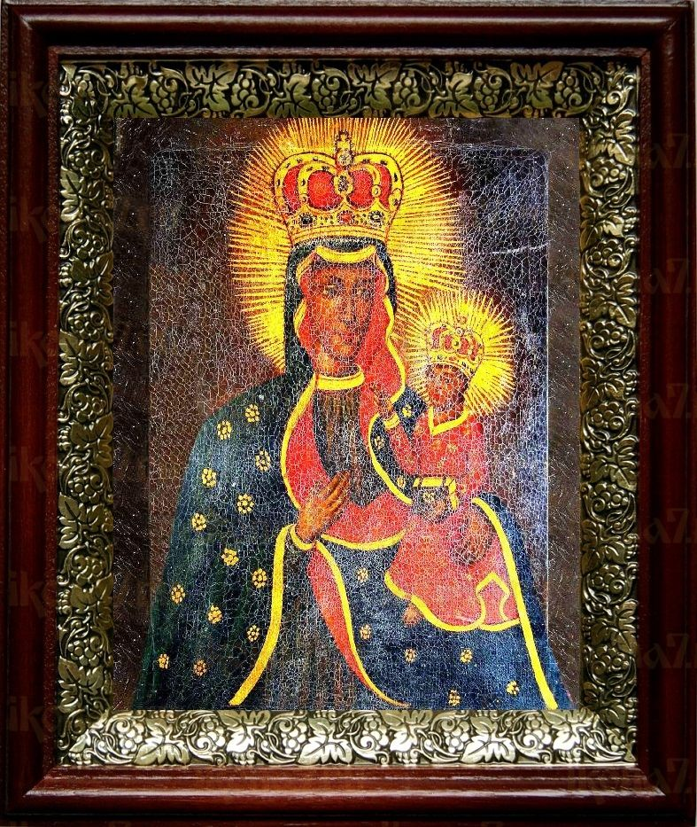 Тывровская икона БМ (19х22), темный киот