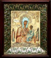 Хлебная икона БМ (21х24), киот со стразами