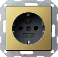 Gira S-55 Латунь/Антрацит Розетка с/з с защитными шторками(0453604)