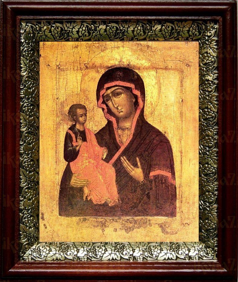 Цареградская икона Божьей Матери (19х22), темный киот