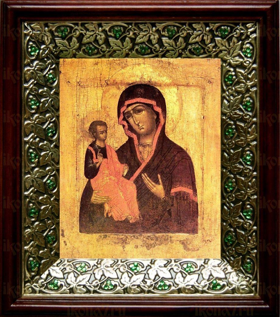 Цареградская икона БМ (21х24), киот со стразами
