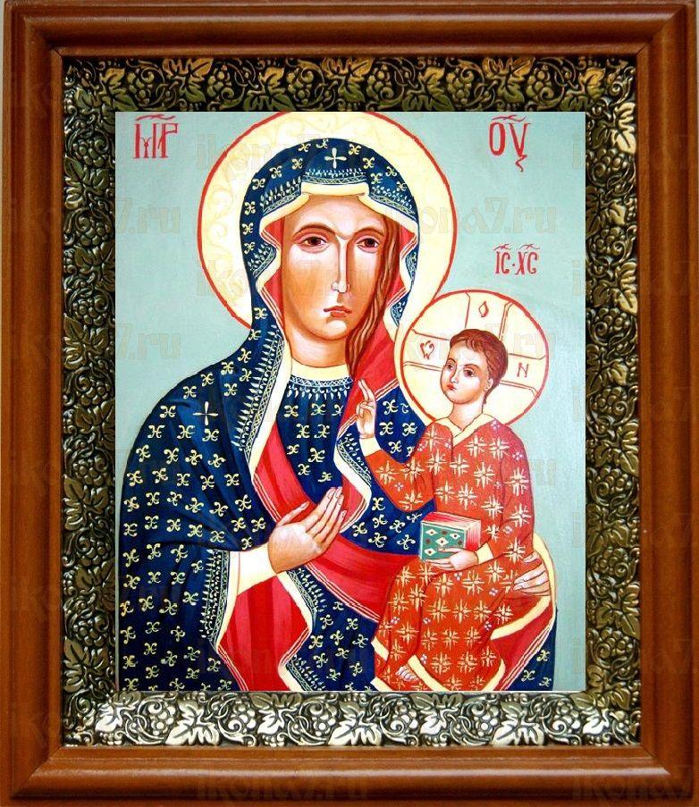 Ченстоховская икона БМ (19х22), светлый киот