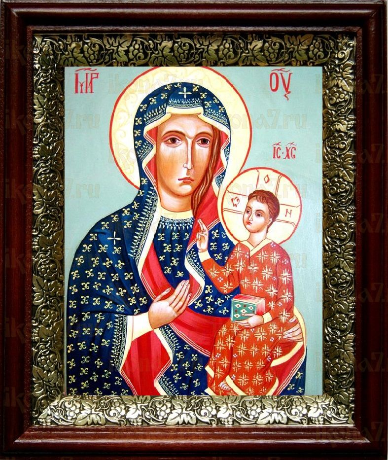 Ченстоховская икона БМ (19х22), темный киот