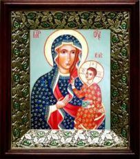 Ченстоховская икона БМ (21х24), киот со стразами