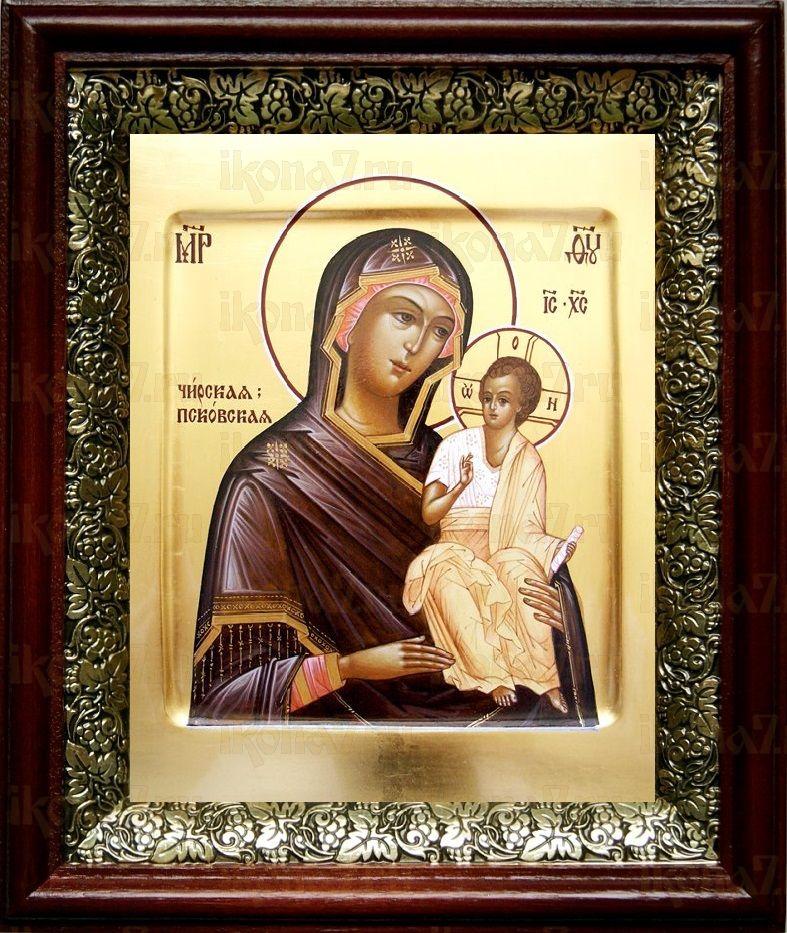 Чирская (Псковская) икона БМ (19х22), темный киот