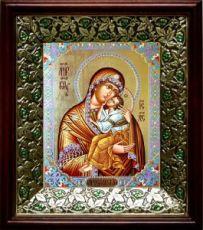 Ярославская икона БМ (21х24), киот со стразами