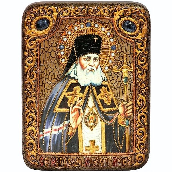 Инкрустированная настольная икона Преподобный Антоний Великий (15*20см., Россия) на натуральном мореном дубе, в подарочной коробке