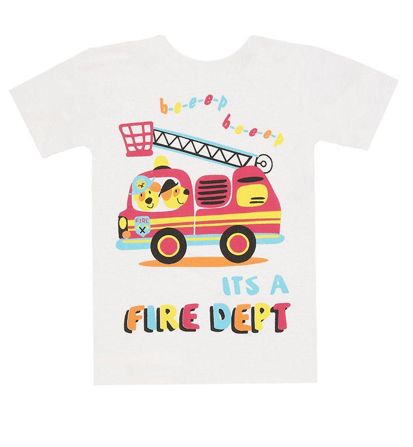 Белая футболка Пожарная машина для мальчика 4 лет