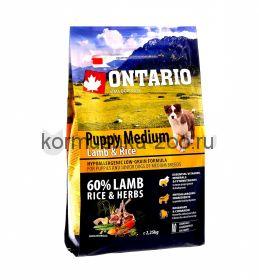 Ontario для щенков с ягненком и рисом