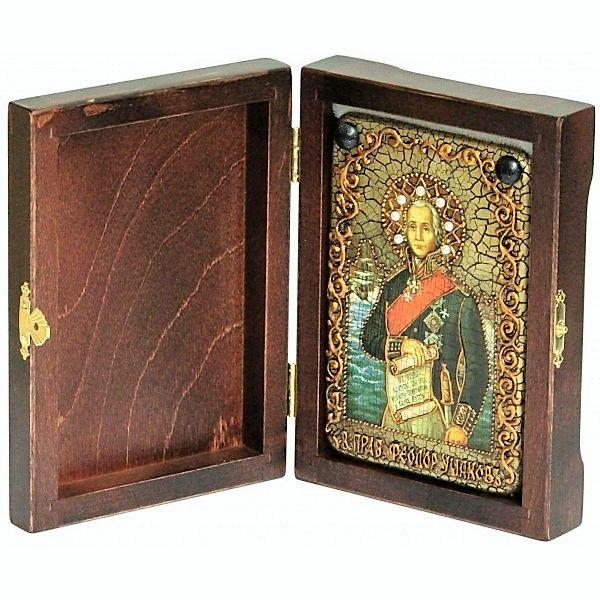 Инкрустированная настольная икона Святой праведный воин Феодор Адмирал (Ушаков) (10*15см., Россия) на натуральном мореном дубе, в подарочной коробке