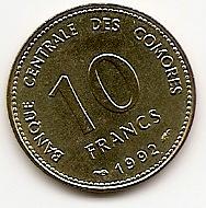 10 франков(Регулярный выпуск) Коморские острова 1992