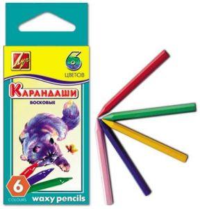Карандаши восковые, шестигранные 8х90, 6 цветов