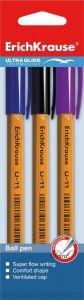 Набор из 3 ручек  (синяя, черная, фиолетовая)