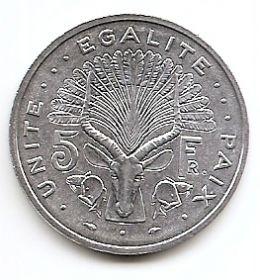 Лиророгая антилопа 5 франков Джибути 1991
