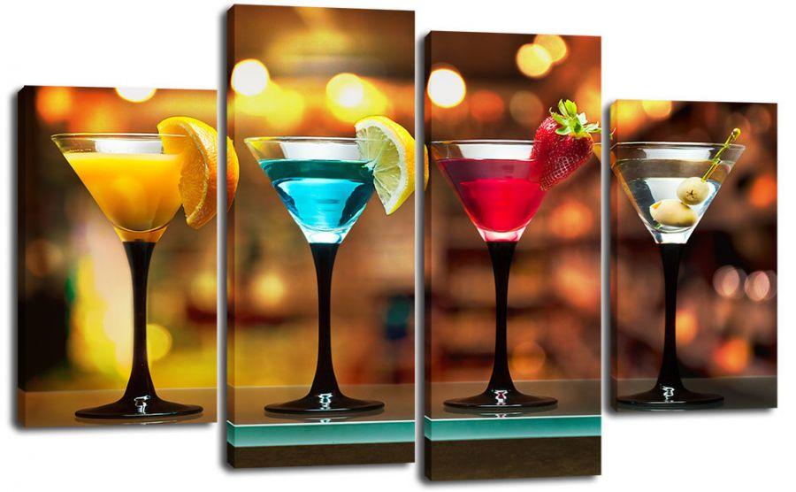 Модульная картина Четыре коктейля